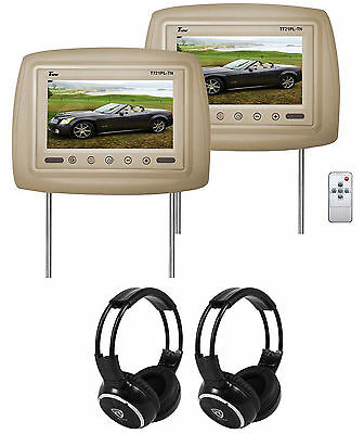 "Pair of Tview T721PL 7"" Beige/Tan Car Headrest Monitors + 2 Wireless Headsets"