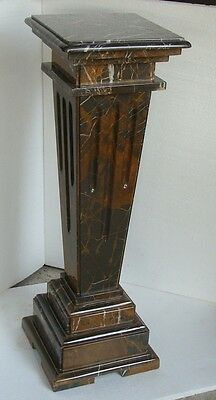 Hand Carved Coffee Gold Marble Pedestal