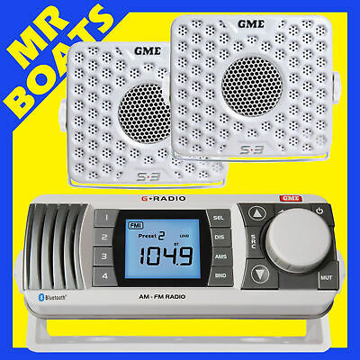 Gme Gr300 Am Fm Vhf Marine Radio Receiver 2 Speakers White Gr300Wep Free Post