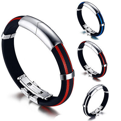 New Men's Stainless Steel Rubber Silicone Cuff Bangle Bracelet Wrap Wristband