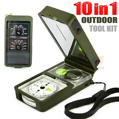 Multifunction 10 in 1 Outdoor Military Camping Hiking Survival Tool Compass