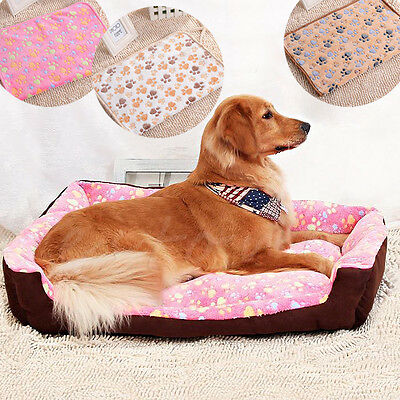 Soft Blanket Beds Mat Puppy Pet Small Large Warm Paw Print Dog Cat Pig Fleece