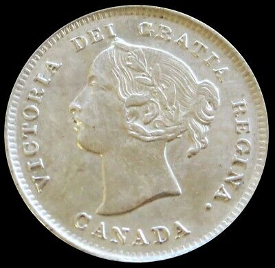1894 Silver Canada 5 Cents Queen Victoria Coin About Uncirculated Condition