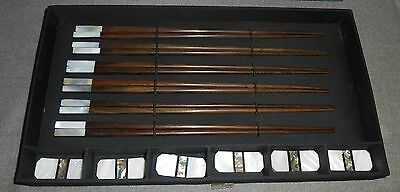 Asian MOTHER of PEARL/ABALONE Set/6 CHOPSTICKS with Rests NICE!