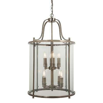 Traditional 8 Light Solid Brass Round Hall Ceiling Lantern, Antique Brass