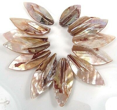 40-50mm Natural Lustrous Rainbow Mother of Pearl Leaf Pendant Beads 16""
