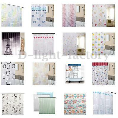 Unique Clear Thick PEVA Bathroom Shower Curtain 3D Water Cube Waterproof 12 Hook