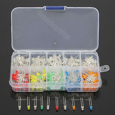 300pcs 10 value Five Colors 3mm Round Bright Light LED Diode Lamp Assortment kit