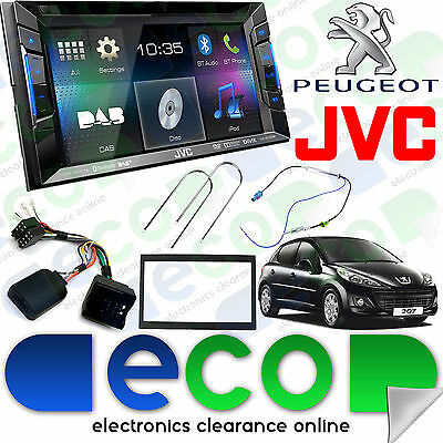"""Peugeot 207 06-12 JVC 6.2"""" CD DVD MP3 USB Aux-In Bluetooth DAB Double Din Stereo"""