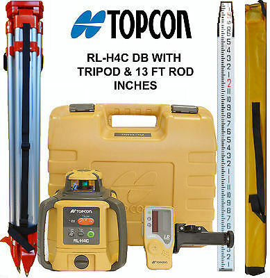 New Topcon RL-H4C DB Laser Level PLUS 13 FT Aluminum Inches Rod & HD Tripod
