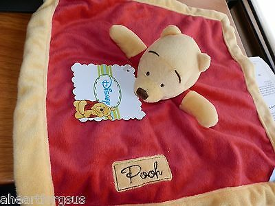 Disney Security Blanket Winnie Pooh Arms Baby Red Gold Soft Lovey Blankey Unisex