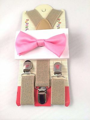 Kids Boys Tan Khaki Suspenders & Pink Bow tie SET Baby-3Y