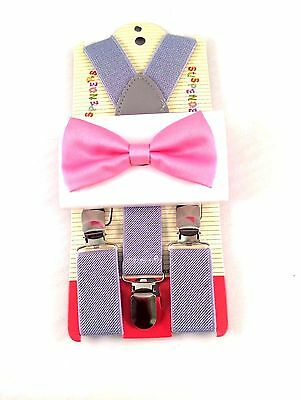 Kids Boys Gray Suspenders & Pink Bow tie SET Baby-3Y