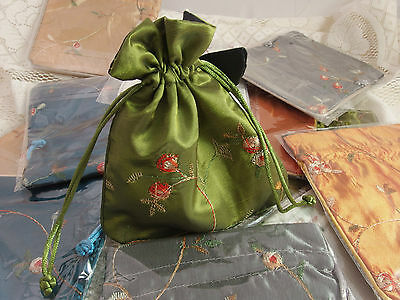 One Shiny Satin Floral Embroidery Pouch Bag Jewellery Gifts Storage 13 x 15 cm