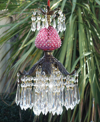1of2 Vintage ceiling Lily Icicle Crystal Lamp Chandelier Fenton Cranberry Glass