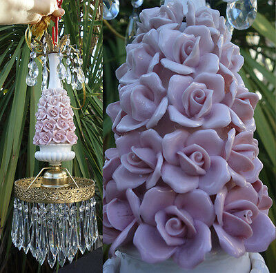 1o2 Vintage porcelain Pink barbola Rose Brass chandelier Swag lamp crystal prism