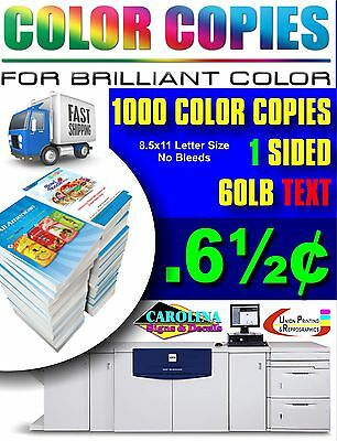 1000 Full Color Copies 60Lb Text Single Sided