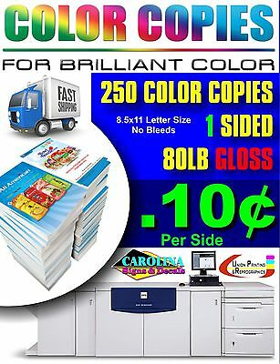 250 Full Color Copies 80Lb Gloss Text Single Sided Prints