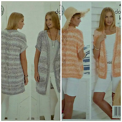 KNITTING PATTERN Ladies DiamondPanel DropSleeve Long Waistcoat &Cardigan DK 4454