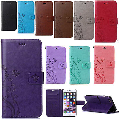 For Samsung Galaxy Phone Flower Pattern PU Leather Wallet Card Stand Case Cover
