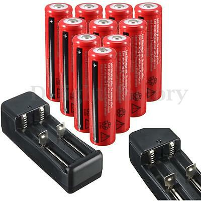 10PCS 3.7V 4200MAH 18650 Protected Li-ion Rechargeable Battery + Smart Charger