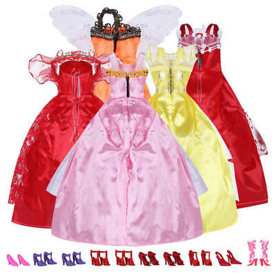 Mix Style Handmade Gorgeous Barbie Doll Party Clothes Dress x5 & Shoes x 10 Gi