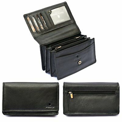 Ladies Womens Large GENUINE REAL Soft Leather Purse Clutch Luxury Zips Wallet