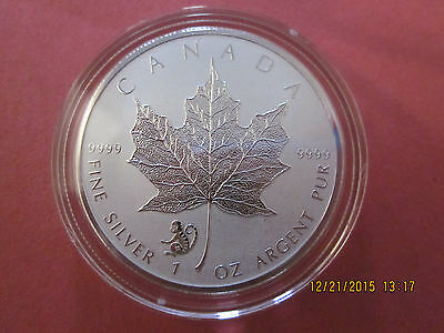 2016 1 oz .9999 Reverse Proof Silver Canadian Maple Leaf Coin-Monkey, Ship Now!