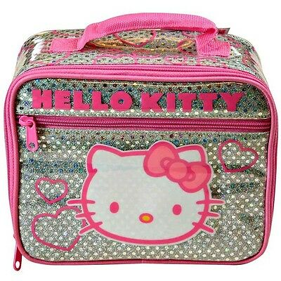 Lunch Bag Insulated HELLO KITTY 2-Compartment Pink Silver Glitter NEW
