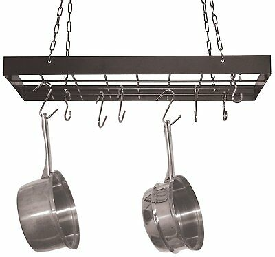 Fox Run Square Pot Rack with Chrome Chains and Hooks,Black 7801 Nice design NEW
