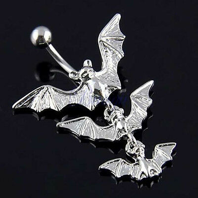 14G Bat Crystal Belly Button Ring Dangle Navel Barbell Body Piercing Jewelry