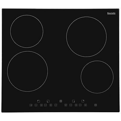 Baumatic BHC605 59cm 4 Burners Ceramic Hob Touch Control Black - from AO
