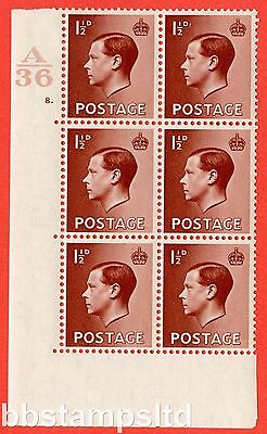 SG. 459. P3. 1½d Red-brown. A fine lightly mounted mint. Control  A36 cylinder 8