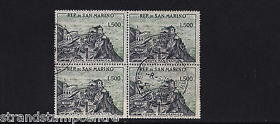 San Marino - 1957-61 View of San Marino 500L - CDS Used - SG 527a BLOCK of FOUR