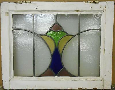 "OLD ENGLISH LEADED STAINED GLASS WINDOW Colorful Abstract Design 20.75"" x 16.25"""