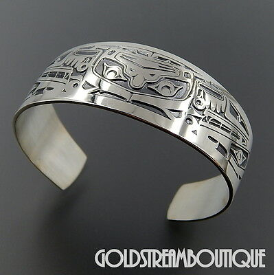 """Jean Ferrier Sterling Silver Sisiutl Mythical Character Wide Cuff Bracelet 6.25"""""""