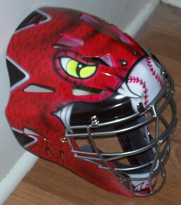 Airbrushed Red Snake Catchers Mask Rawlings New Youth
