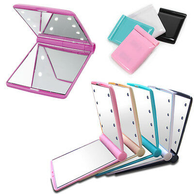 Make Up Mirror Cosmetic Folding Portable Compact Pocket with 8 LED Lights Gift