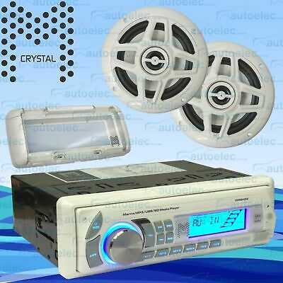 Crystal Marine Audio Pack Flush Mount Am Fm Radio Usb + Speakers Kit Cm8H02Pk