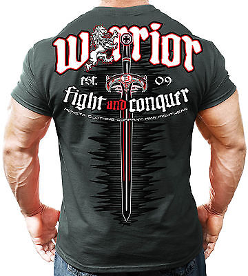 NEW Men's Monsta Clothing Soft: WARRIOR (Fight & Conquer) Gym Tee: Grey