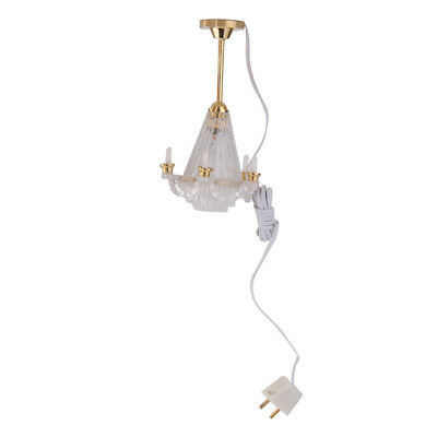 1:12 Scale Dollhouse Chandelier LED Lamp Miniature Light W/Electric Wire
