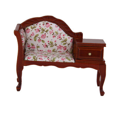 Dollhouse Miniature Furniture Victorian Sofa Longe Couch Settee w/ Drawer