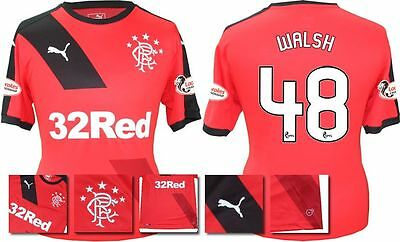 *15 / 16 - Puma ; Rangers Away Shirt Ss + Patches / Walsh 48 = Size*