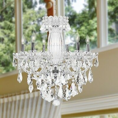 "USA BRAND Olde World 6 Light Chrome French Crystal Chandelier 25"" x 25"" Large"