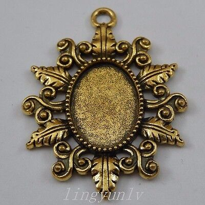 8 Pieces Antiqued Bronze Alloy Round 40x40mm Cameo Setting Pendants Charms 50264