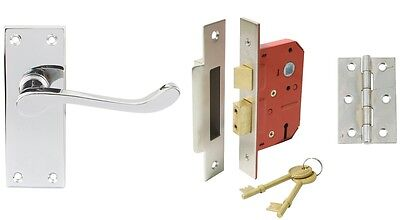 Scroll handle door set internal lock version, Polished Chrome, Brass or Nickel