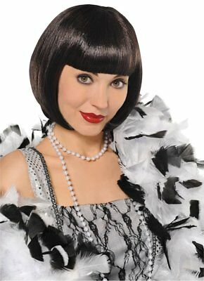 Amscan Flapper Wig Halloween Ladies Fancy Dress Costume Black 20s Accessory Bob
