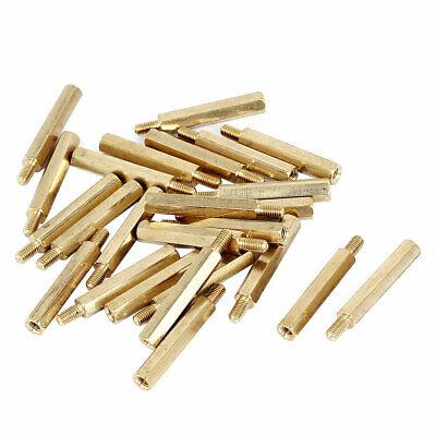 M3x25+6mm Female/Male Thread Brass Hex Standoff Pillar Spacer Coupler Nut 25pcs