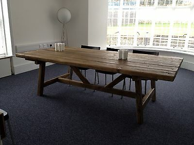 BEAUTIFUL RUSTIC OLD WORLD RECLAIMED TIMBER TRESTLE TABLE Made Up To 7 Ft X 3ft