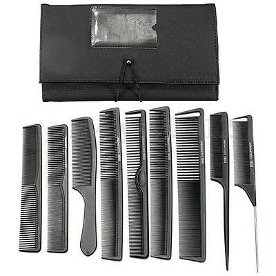 9Pcs Hairdressing Hair Stylist Salon Black Carbon Brush Combs Kit + Wallet Set